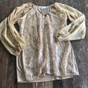 American Glamour Badgley Mischka Gold Sequin Top
